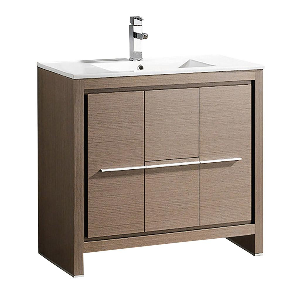 Allier 36 gray oak modern bathroom cabinet w sink for Grey bathroom cupboard