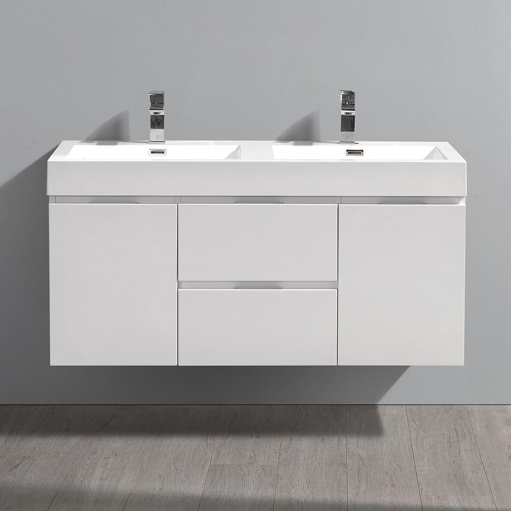 Fresca Valencia 48 Glossy White Wall Hung Double Sink Modern Bathroom Cabinet