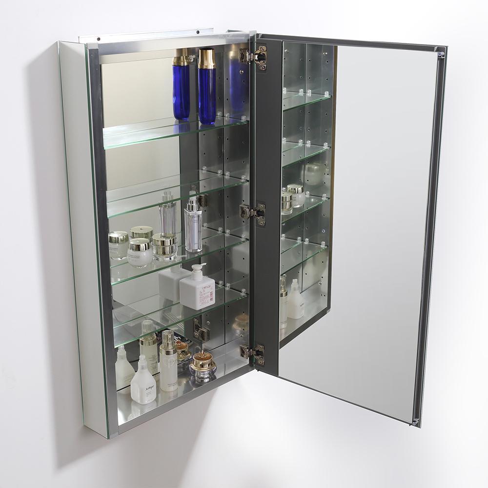"""Fresca 20"""" Wide x 36"""" Tall Bathroom Medicine Cabinet w/ Mirrors. Picture 4"""