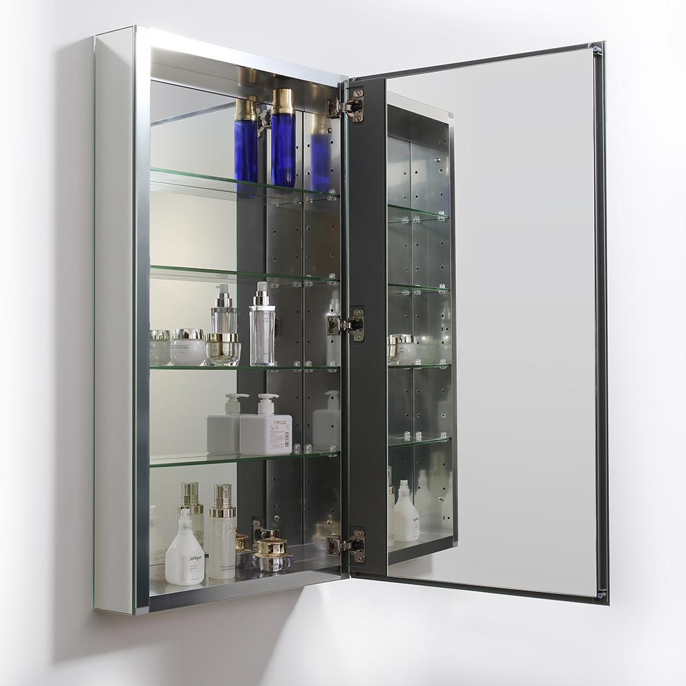 """Fresca 20"""" Wide x 36"""" Tall Bathroom Medicine Cabinet w/ Mirrors. Picture 3"""