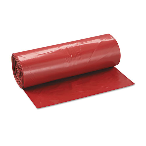 """Low-Density Commercial Can Liners, 45 gal, 1.3 mil, 40"""" x 46"""", Red, 100/Carton. Picture 4"""