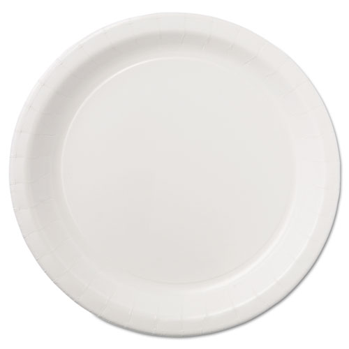 """Coated Paper Dinnerware, Plate, 9"""", White, 50/Pack, 10 Packs/Carton. Picture 1"""