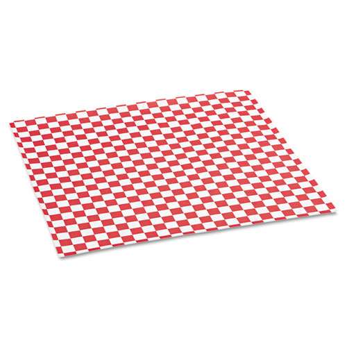 Grease-Resistant Paper Wrap/Liners, 12 x 12, Red Check, 1000/Box, 5 Boxes/Carton