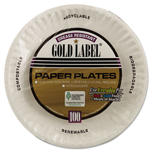 """Gold Label Coated Paper Plates, 9"""" dia, White, 100/Pack, 10 Packs/Carton. Picture 4"""