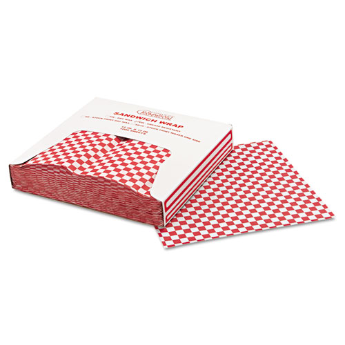 Grease-Resistant Paper Wrap/Liners, 12 x 12, Red Check, 1000/Box, 5 Boxes/Carton. Picture 4