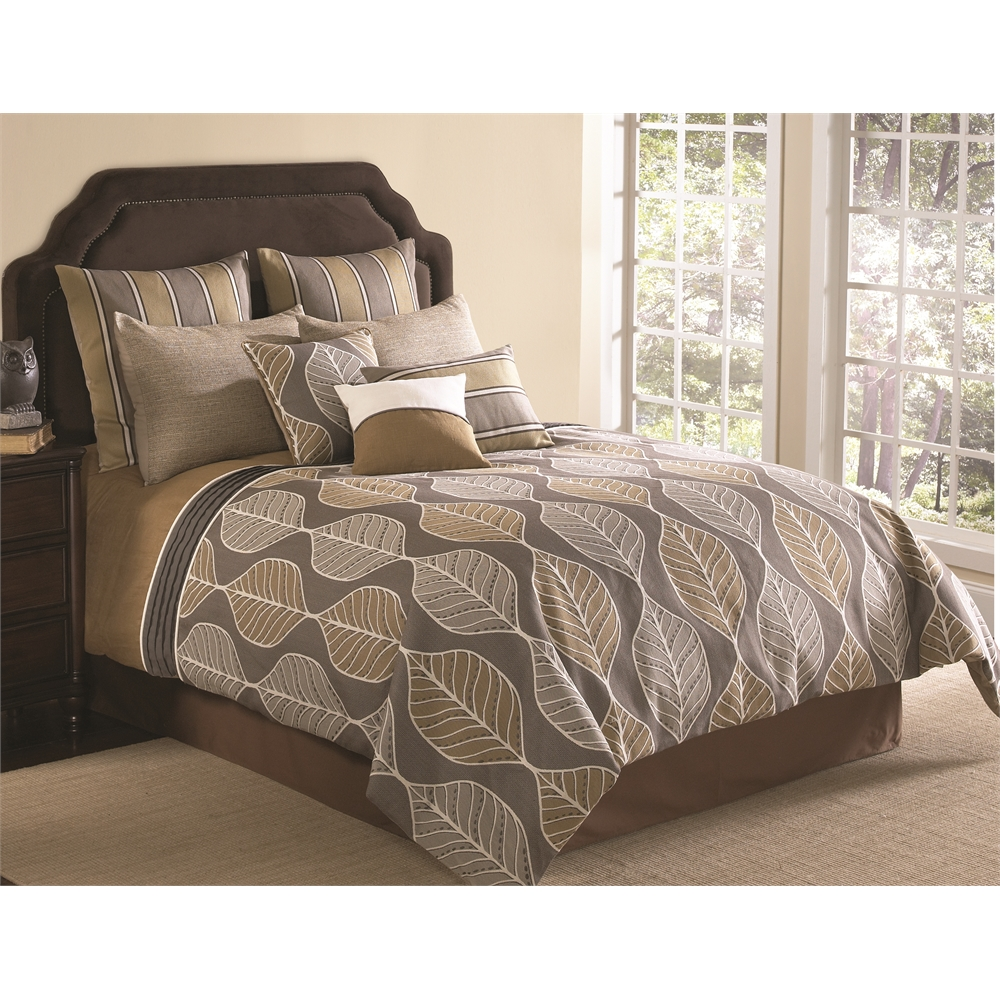Branson 10 Pc King Comforter Set Tan Multi