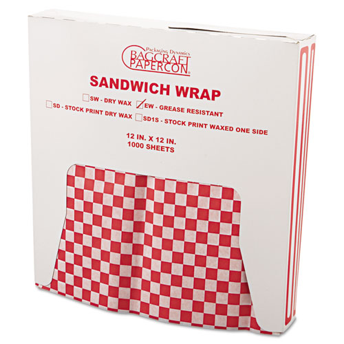 Grease-Resistant Paper Wrap/Liners, 12 x 12, Red Check, 1000/Box, 5 Boxes/Carton. Picture 2