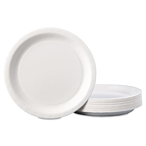 """Coated Paper Dinnerware, Plate, 9"""", White, 50/Pack, 10 Packs/Carton. Picture 3"""