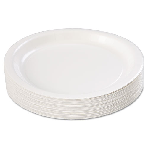 """Coated Paper Dinnerware, Plate, 9"""", White, 50/Pack, 10 Packs/Carton. Picture 4"""