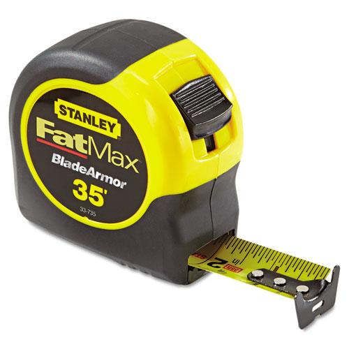 "Fat Max Tape Rule, 1 1/4"" x 35ft, Plastic Case, Black/Yellow, 1/16"" Graduation. Picture 1"