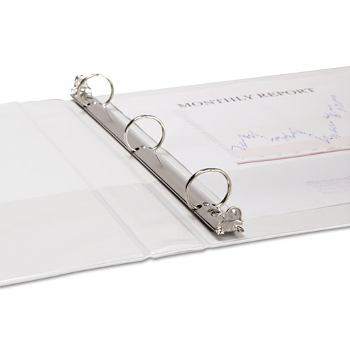 "Speedy Spine Heavy-Duty Time Saving Round Ring View Binder, 3 Rings, 1"" Capacity, 11 x 8.5, White. Picture 4"