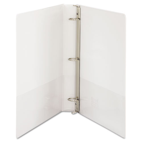 "Speedy Spine Heavy-Duty Time Saving Round Ring View Binder, 3 Rings, 1"" Capacity, 11 x 8.5, White. Picture 3"