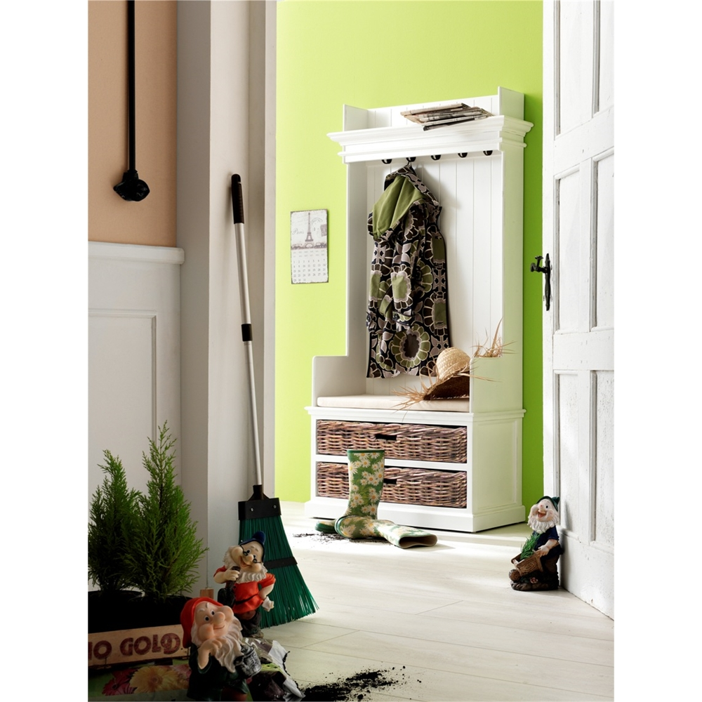 Entryway Coat Rack Bench Unit With