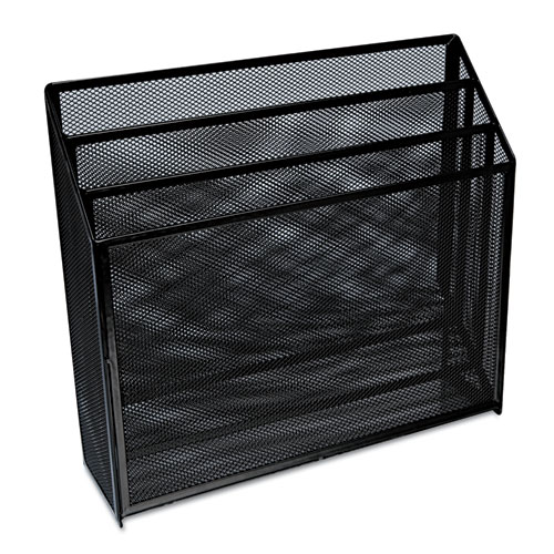 """Deluxe Mesh Three-Tier Organizer, 3 Sections, Letter Size Files, 12.63"""" x 3.63"""" x 11.5"""", Black. Picture 1"""