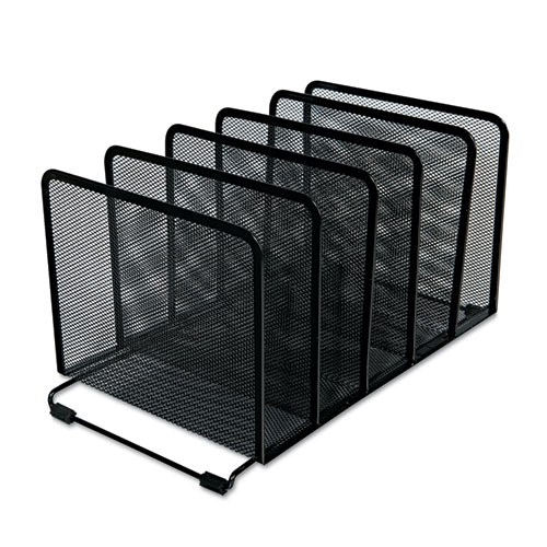 "Deluxe Mesh Stacking Sorter, 5 Sections, Letter to Legal Size Files, 14.63"" x 8.13"" x 7.5"", Black. Picture 4"