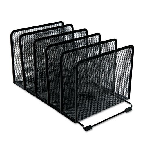 "Deluxe Mesh Stacking Sorter, 5 Sections, Letter to Legal Size Files, 14.63"" x 8.13"" x 7.5"", Black. Picture 1"