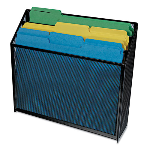 """Deluxe Mesh Three-Tier Organizer, 3 Sections, Letter Size Files, 12.63"""" x 3.63"""" x 11.5"""", Black. Picture 3"""