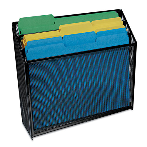 """Deluxe Mesh Three-Tier Organizer, 3 Sections, Letter Size Files, 12.63"""" x 3.63"""" x 11.5"""", Black. Picture 4"""