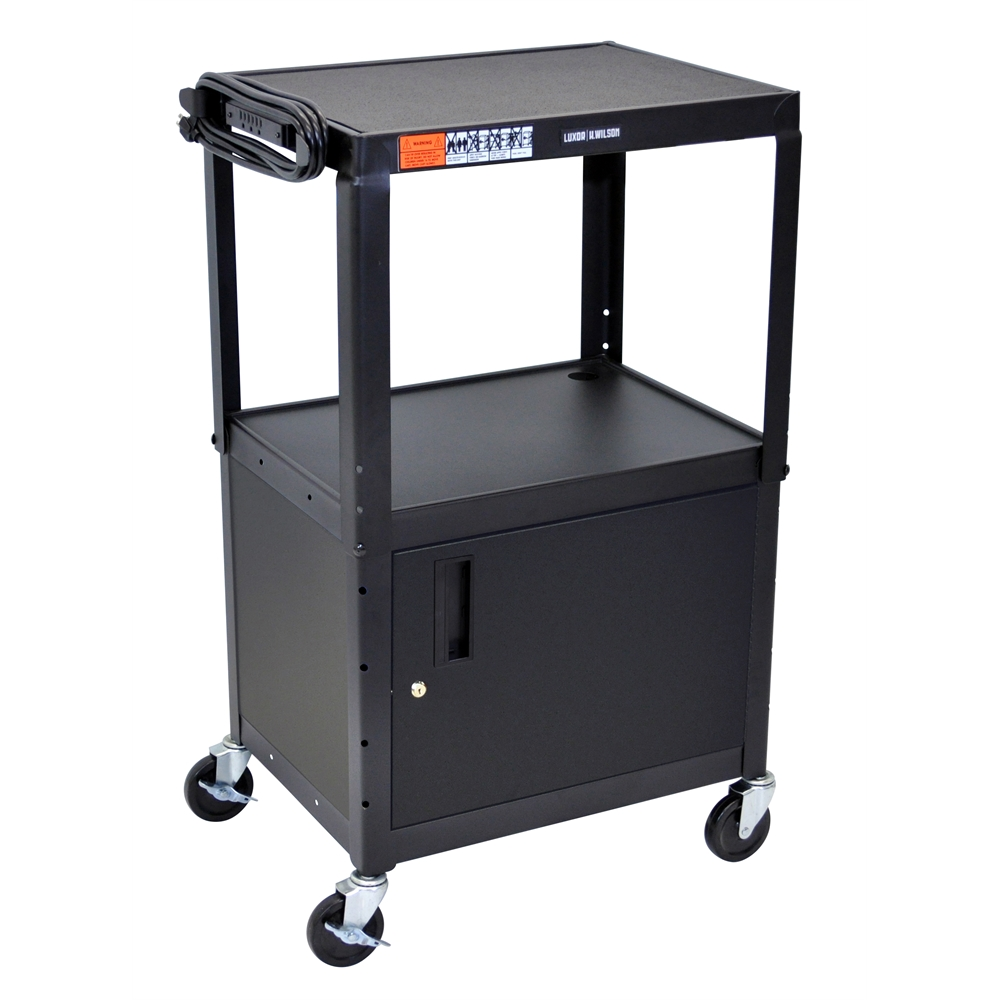 """Black 42"""" Adj Height Cart w/ Cabinet. Picture 1"""