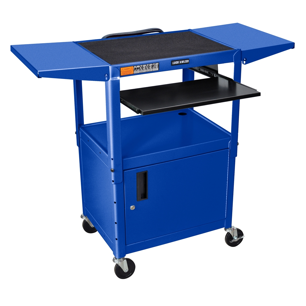 Adjustable Height Blue Metal A V Cart W Pullout Keyboard