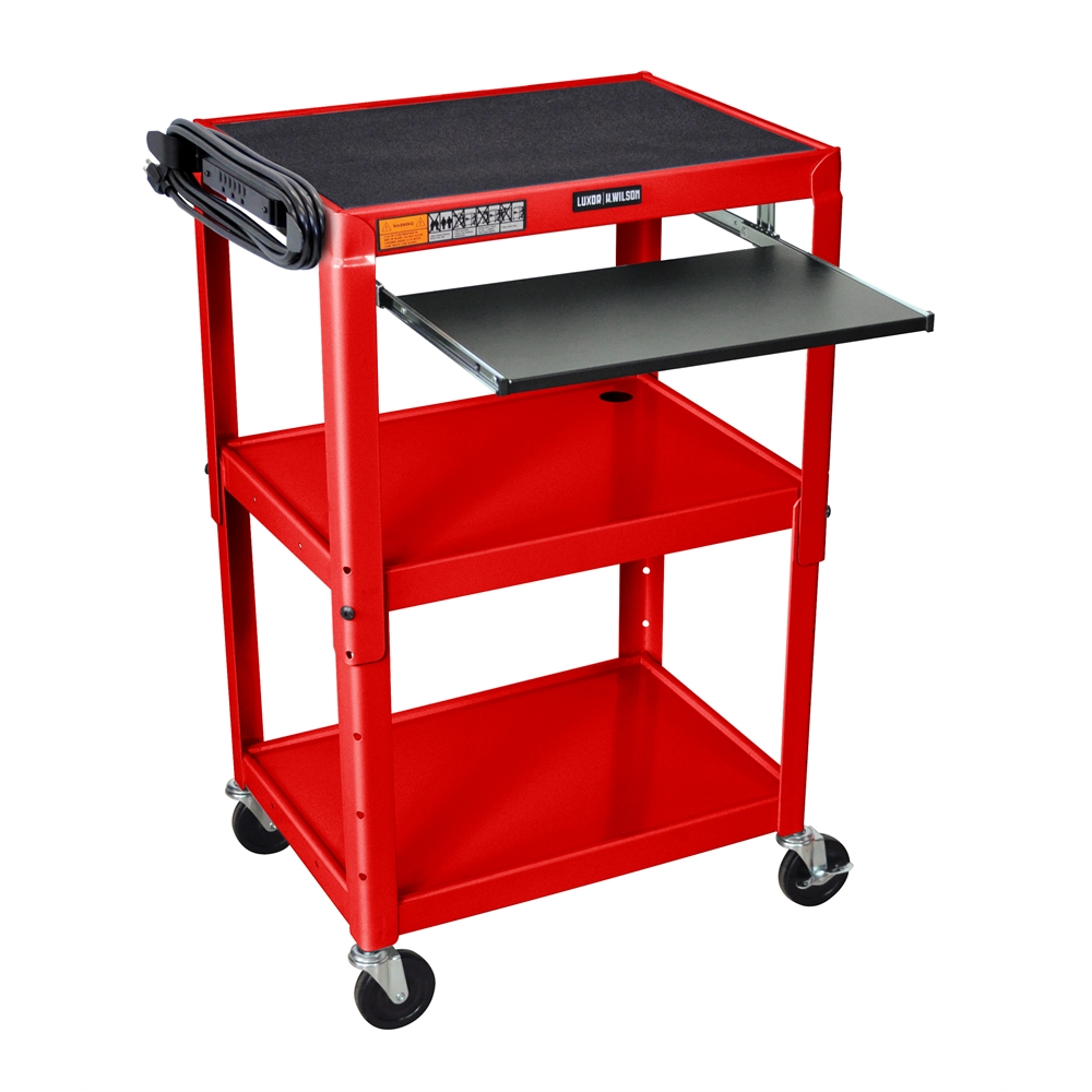 Adjustable Height Red Metal A V Cart W Pullout Keyboard Tray