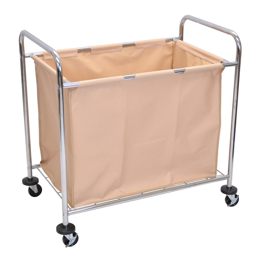 gray and white bedroom laundry cart w steel frame amp canvas bag 15454