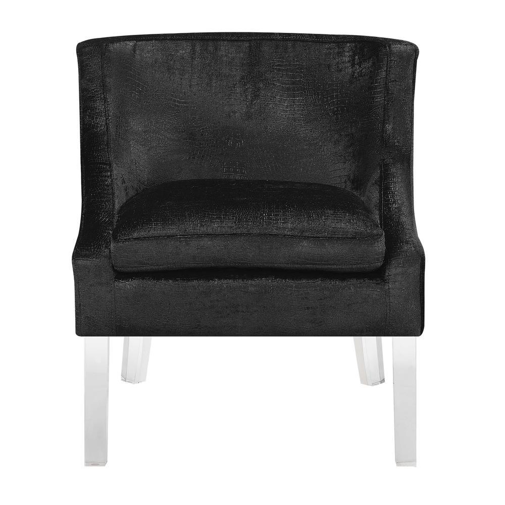 Tristan Alligator Fabric Accent Chair In Black