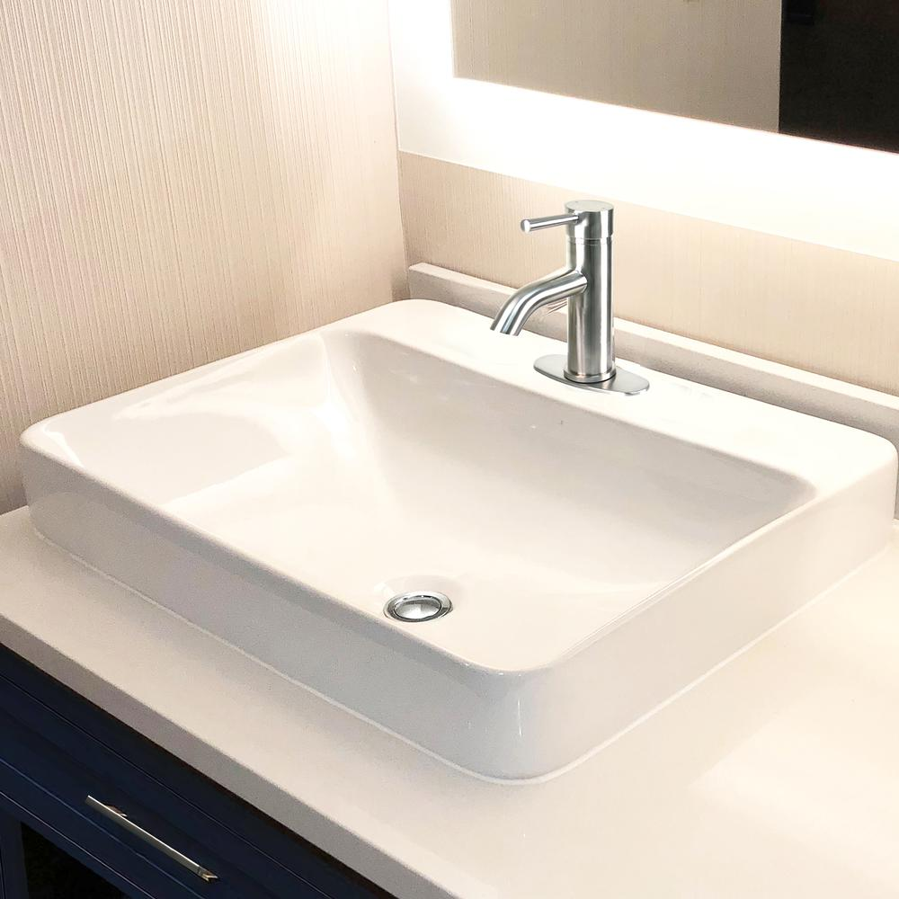 23 Inch 1-hole Rectangular Drop-In Ceramic Vanity Sink DI ...