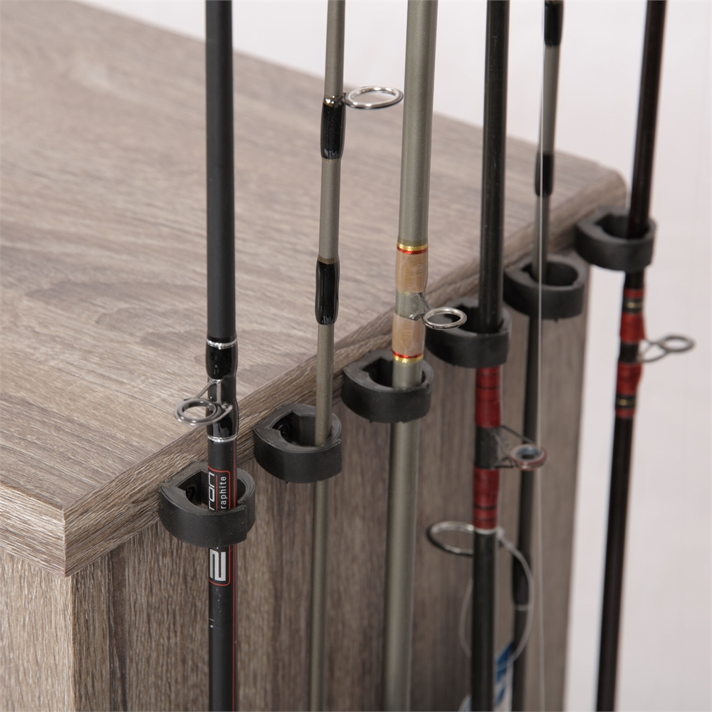 Tuff stor by american furniture classics fishing storage for Fishing rod clips
