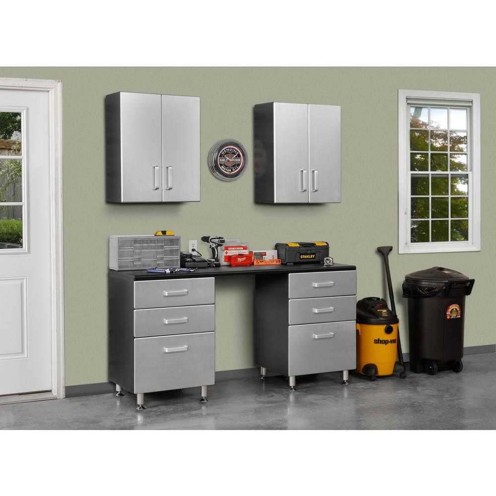 Tuff Stor 24210K 71 inch wide WorkBench with Six Sturdy Drawers and Two Overhead Cabinets. Picture 1