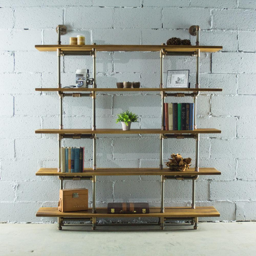 PE64-RB Industrial 64-inch Wide 5-shelf Pipe Bookcase With