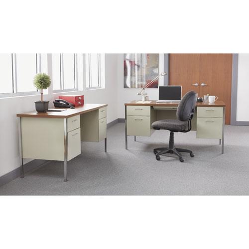 """Single Pedestal Steel Desk, 45.25"""" x 24"""" x 29.5"""", Cherry/Putty. Picture 6"""