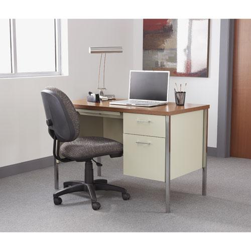 """Single Pedestal Steel Desk, 45.25"""" x 24"""" x 29.5"""", Cherry/Putty. Picture 8"""