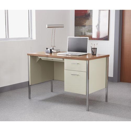 """Single Pedestal Steel Desk, 45.25"""" x 24"""" x 29.5"""", Cherry/Putty. Picture 7"""