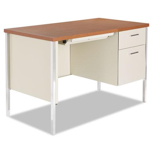 """Single Pedestal Steel Desk, 45.25"""" x 24"""" x 29.5"""", Cherry/Putty. Picture 1"""