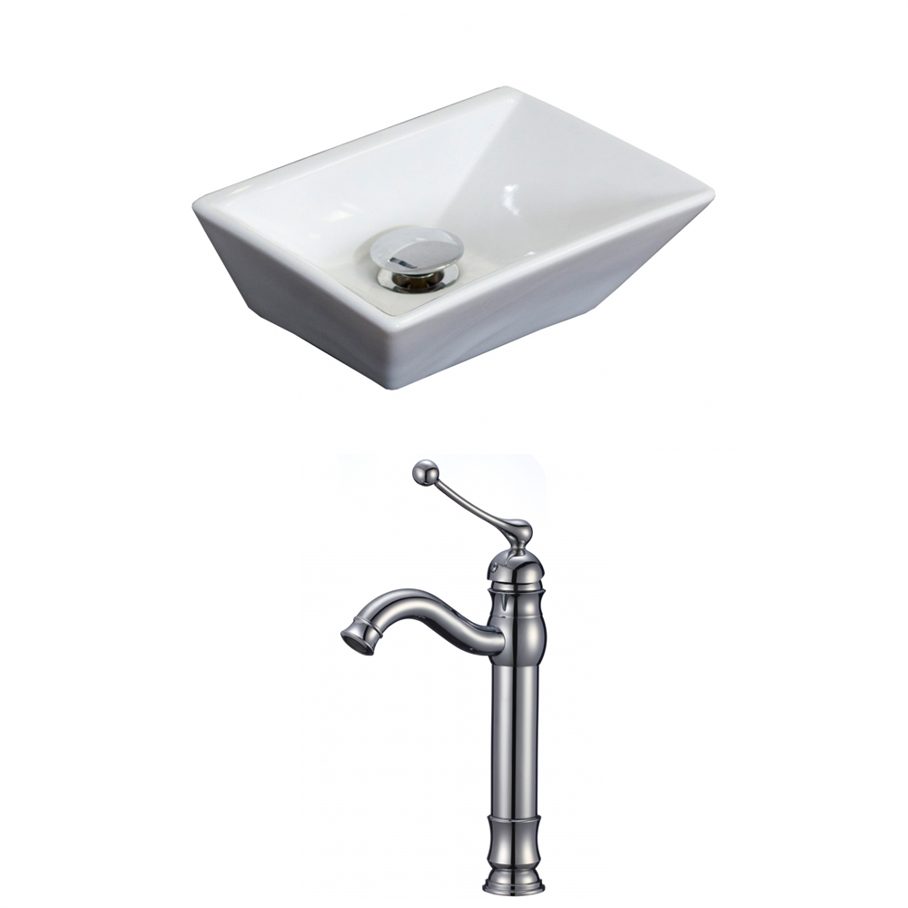 top kitchen faucet 12 in w x 9 in d rectangle vessel set in white color 15180