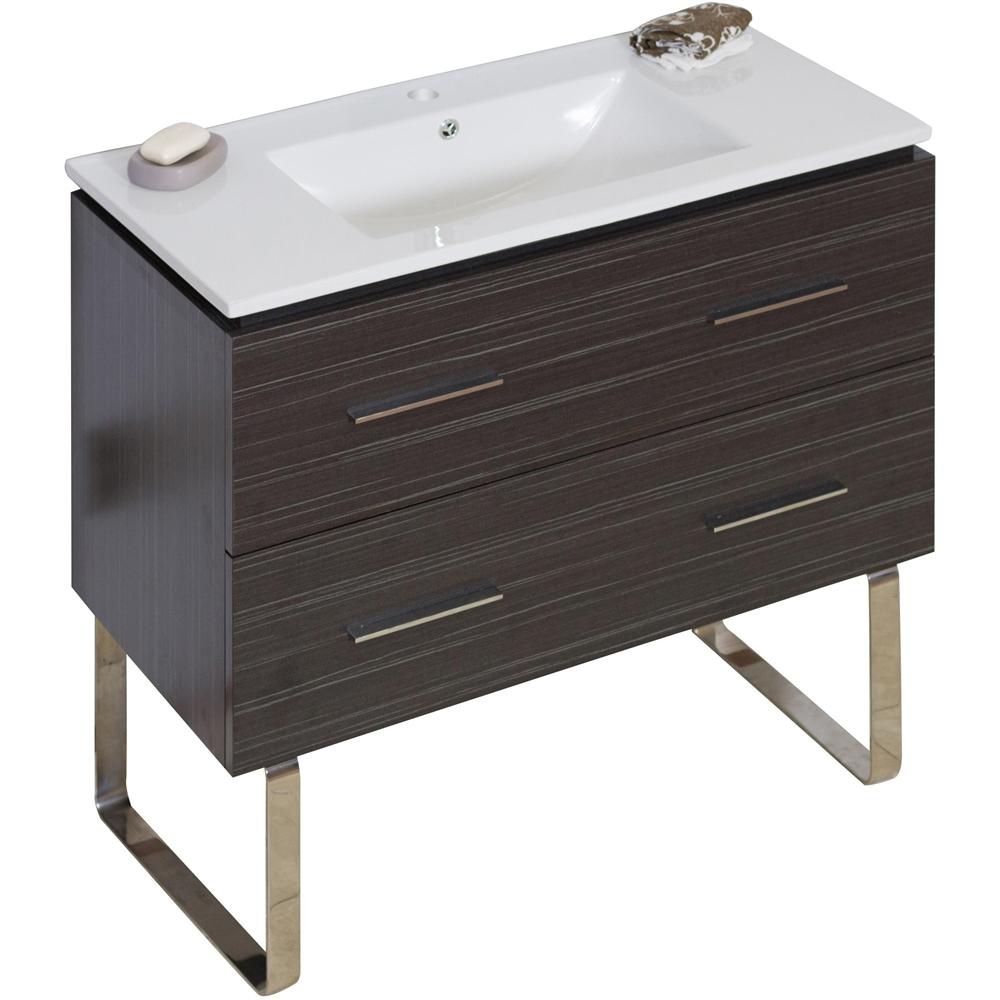36 In W X 18 In D Plywood Melamine Vanity Set In Dawn Grey