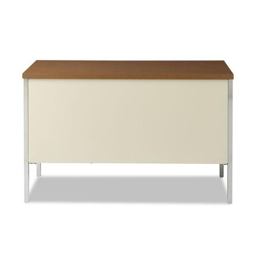 """Single Pedestal Steel Desk, 45.25"""" x 24"""" x 29.5"""", Cherry/Putty. Picture 4"""