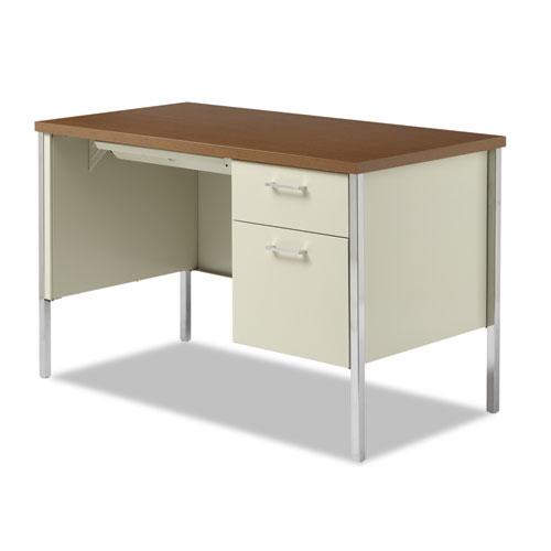 """Single Pedestal Steel Desk, 45.25"""" x 24"""" x 29.5"""", Cherry/Putty. Picture 2"""