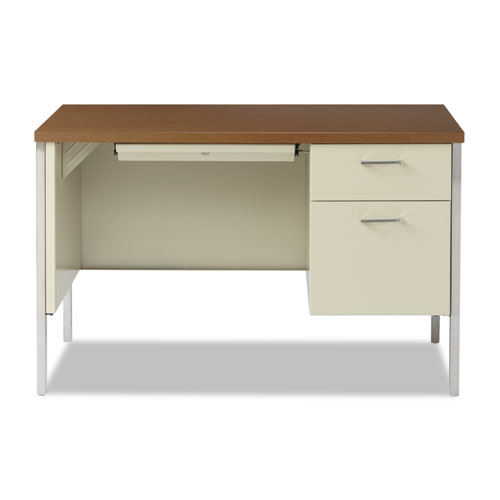 """Single Pedestal Steel Desk, 45.25"""" x 24"""" x 29.5"""", Cherry/Putty. Picture 3"""