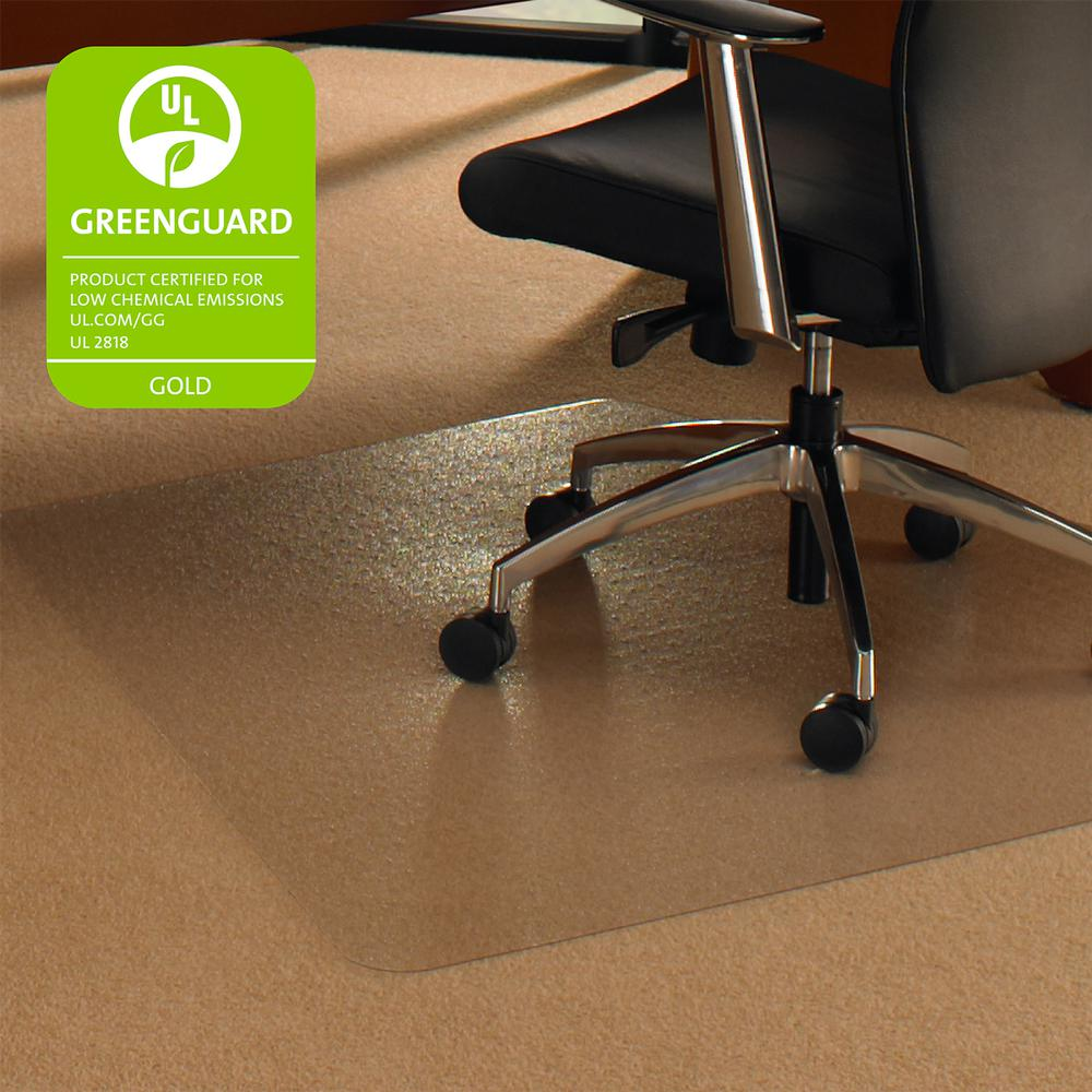 "Cleartex Ultimat Corner Workstation Chair Mat, Polycarbonate, For Low & Medium Pile Carpets (up to 1/2""), Size 48"" x 60"". Picture 2"