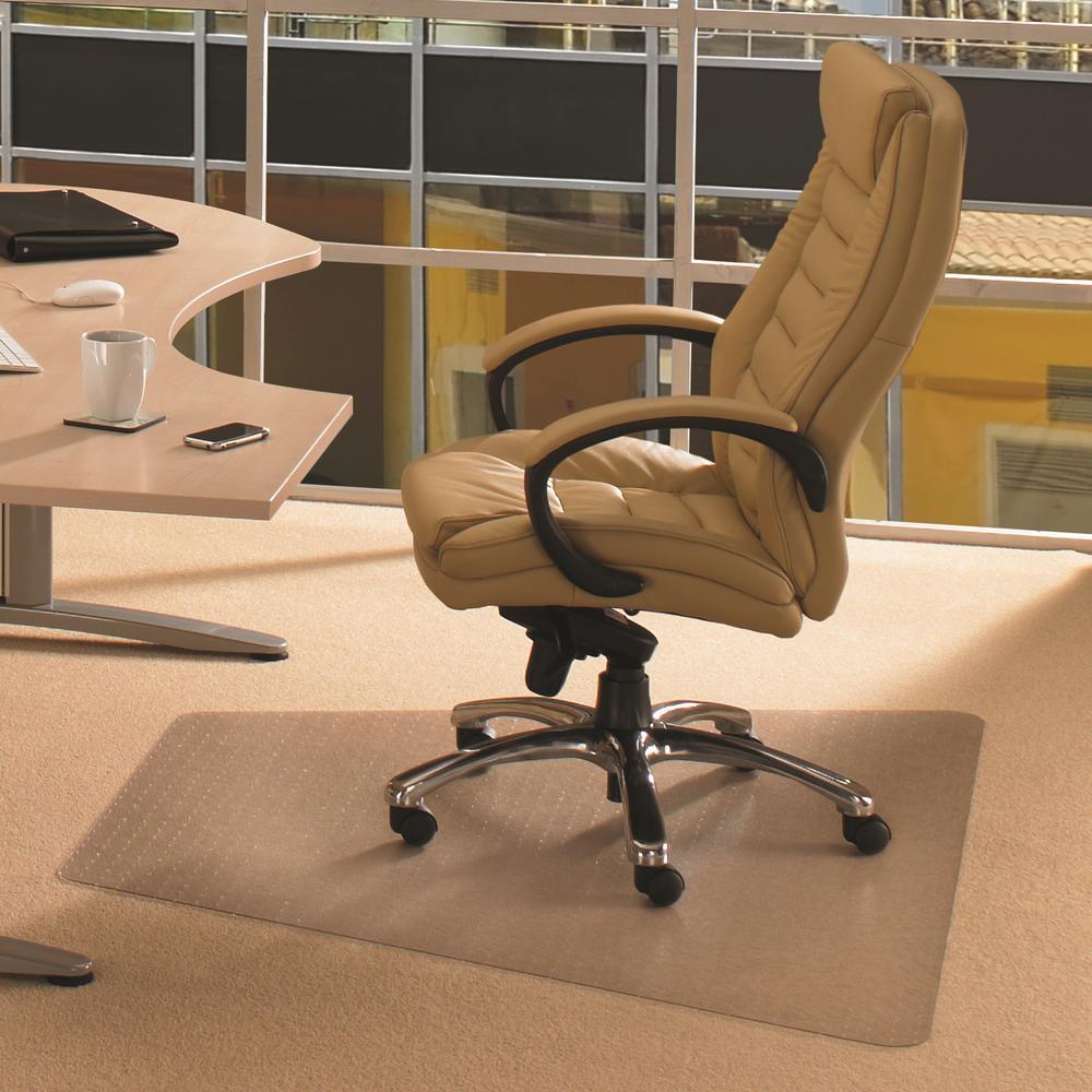 """Cleartex Advantagemat, PVC Corner Workstation Chair Mat, for Medium Pile Carpets (3/4"""" or less), Size 48"""" x 60"""". Picture 2"""