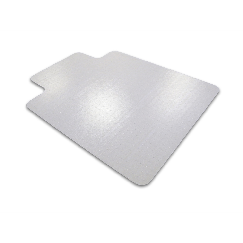 """Cleartex Advantagemat PVC Clear Chairmat for Low Pile Carpets 1/4"""" or less , Rectangular with Front Lipped Area for Under Desk Protection (45"""" X 53""""). Picture 1"""