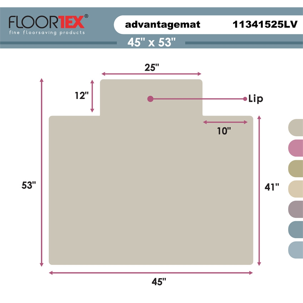 """Cleartex Advantagemat PVC Clear Chairmat for Low Pile Carpets 1/4"""" or less , Rectangular with Front Lipped Area for Under Desk Protection (45"""" X 53""""). Picture 2"""