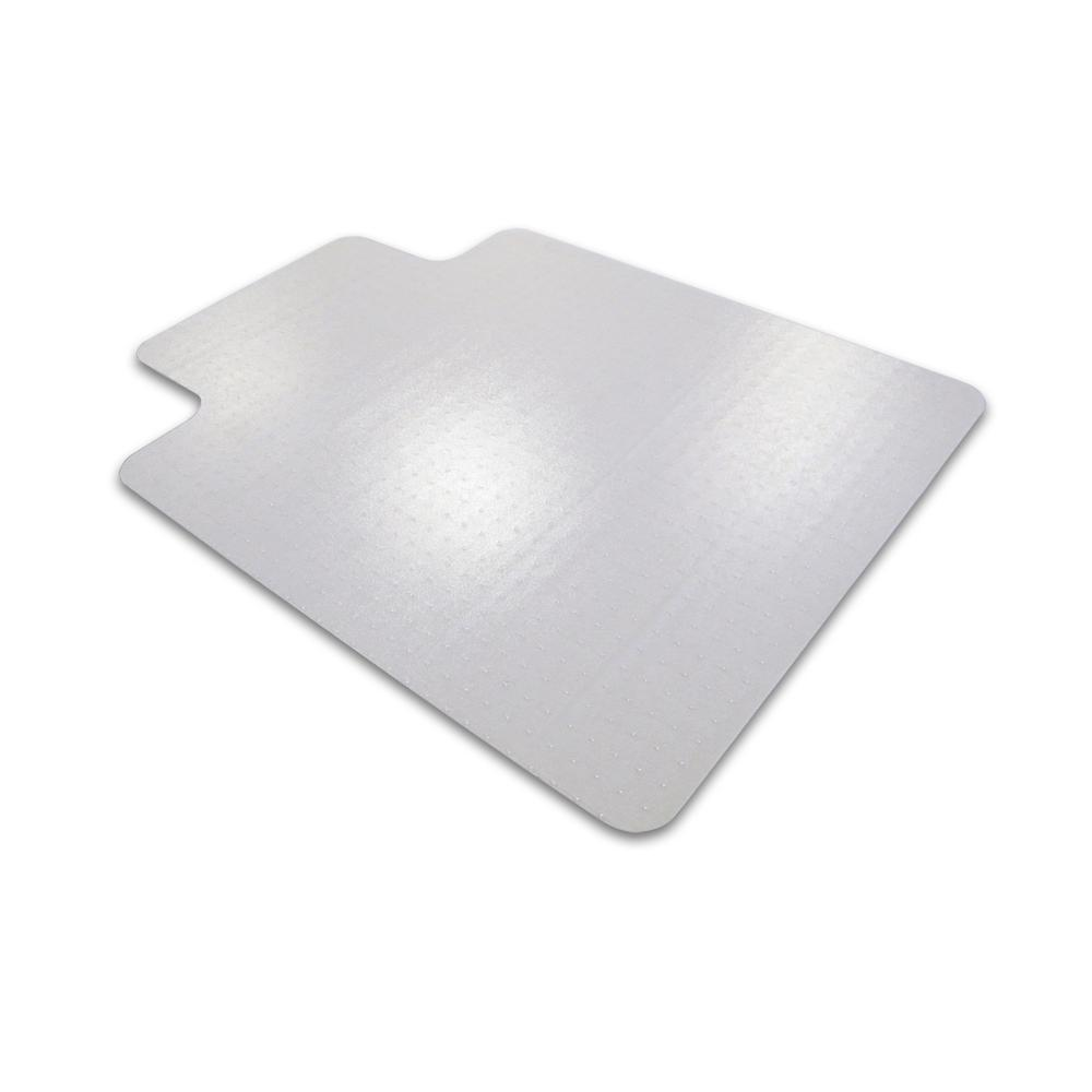 """Cleartex Advantagemat, PVC Clear Chair Mat, for standard pile carpets (3/8"""" or less), Rectangular with Lip, Size 45"""" x 53"""". Picture 1"""