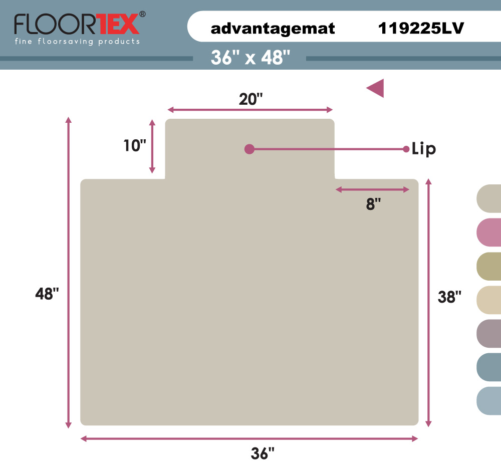 """Cleartex Advantagemat PVC Clear Chairmat for Low Pile Carpets 1/4"""" or less , Rectangular with Front Lipped Area for Under Desk Protection (36"""" X 48""""). Picture 2"""