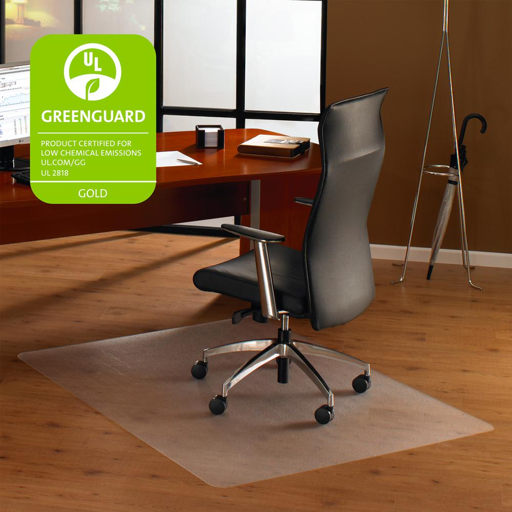 "Cleartex Ultimat Chair Mat, Rectangular, Clear Polycarbonate, For Hard Floors, Size 48"" x 53"". Picture 1"