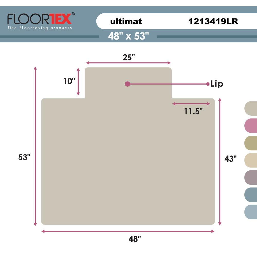 "Cleartex Ultimat Chair Mat, Rectangular With Lip, Clear Polycarbonate, For Hard Floor, Size 48"" x 53"". Picture 4"
