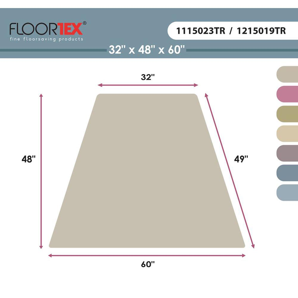 """Cleartex Ultimat, Corner Workstation Chair Mat, Polycarbonate, For Hard Floors, Size 48"""" x 60"""". Picture 5"""