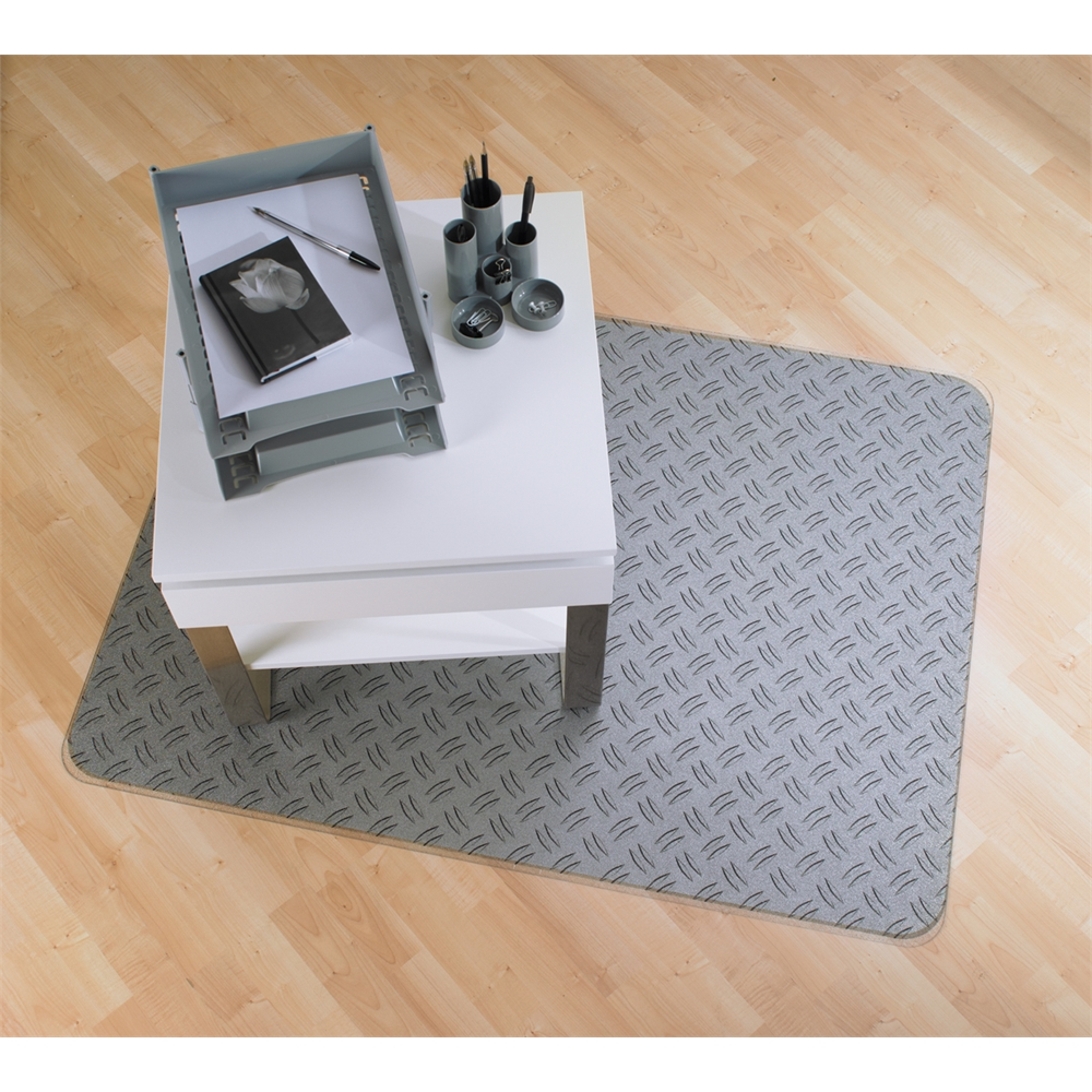 "Colortex Photo Ultimat Rectangular General Purpose Mat In Gray Ripple Design for Hard Floors (36"" x 48""). Picture 5"